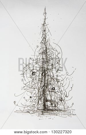 Creative concept tree abstract ink pen drawing. Abstract forms and elements growing or forming into a tree.