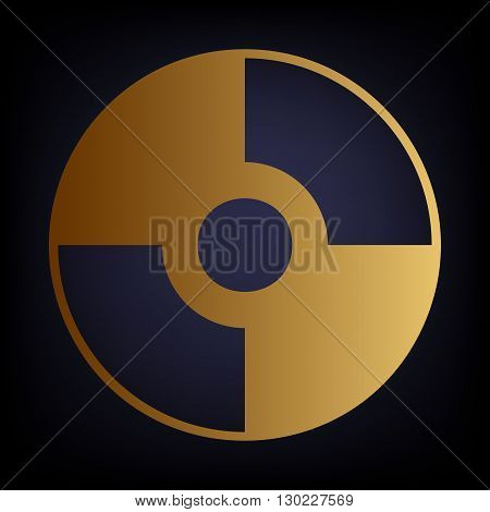 Vector CD or DVD icon. Golden style icon on dark blue background.
