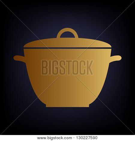 Saucepan simple Icon. Golden style icon on dark blue background.