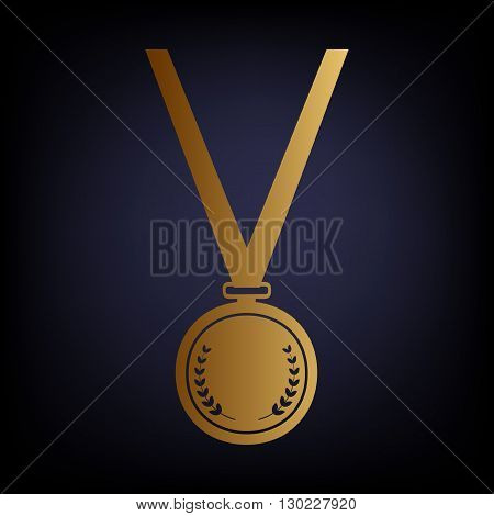 Medal simple Icon. Golden style icon on dark blue background.