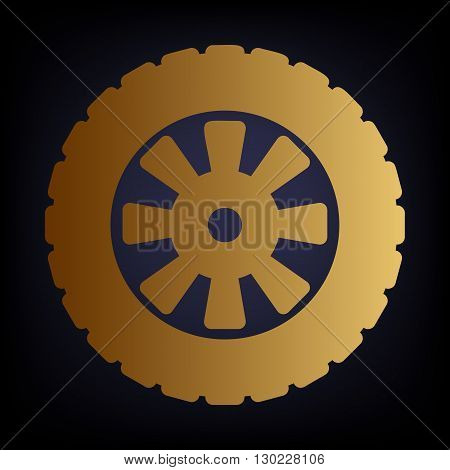 Road tire icon. Golden style icon on dark blue background.