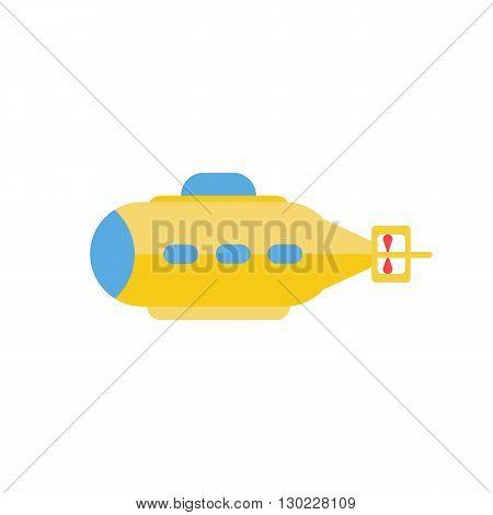 Submarine. Vector illustration. Flat style yellow submarine