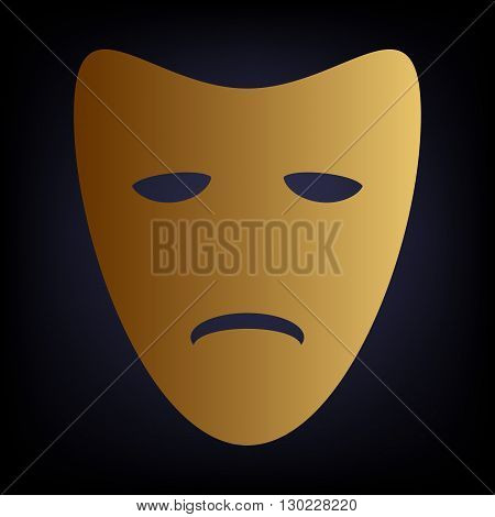 Tragedy theatrical masks. Golden style icon on dark blue background.