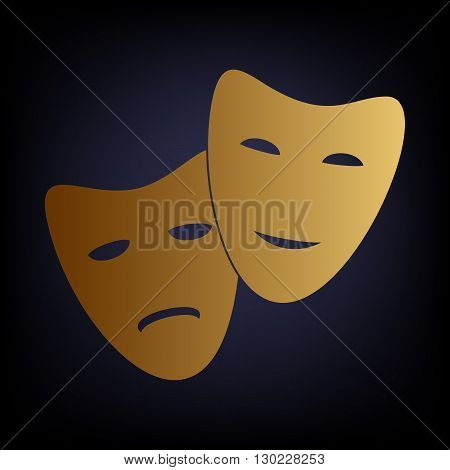 Theater icon with happy and sad masks. Golden style icon on dark blue background.