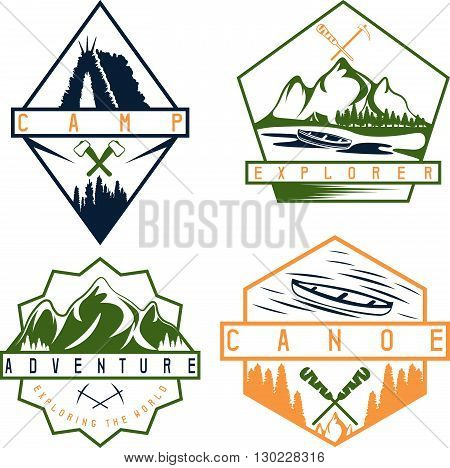 Canoe, Camping And Adventure Vintage Vector Labels Set