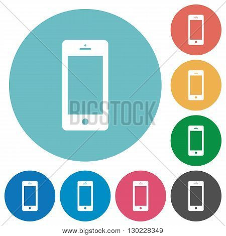 Flat cellphone icon set on round color background.