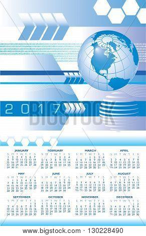 A 2017 global digital abstract calendar for print or web