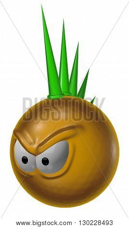 angry punk smiley on white background - 3d illustration