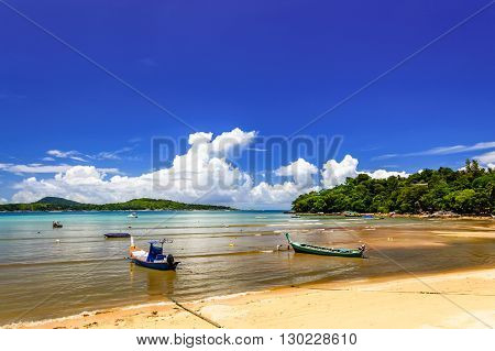 Long-tail boats at Rawai beach in Phuket southern Thailand