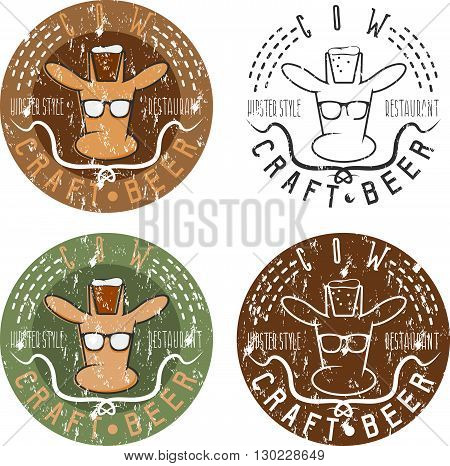 Cow Craft Beer Hipster Style Restaurant Negative Space Concept Grunge Labels
