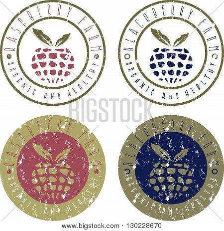 Vintage Vector Grunge Labels Set Of Raspberry And Blackberry Farm