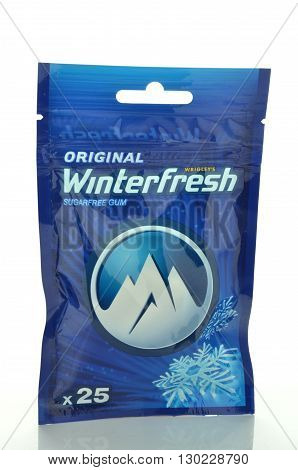 CIRCA MAY 2016 - GDANSK: Winterfresh original chewing gum isolated on white background. Winterfresh chewing gum is produced by Wrigley Company which was founded in USA in 1891