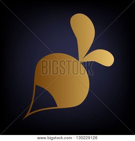 Radish simple icon. Golden style icon on dark blue background.