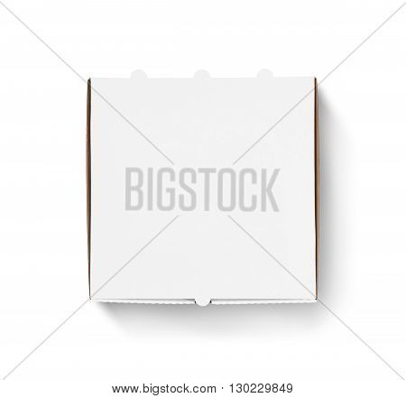 Blank pizza box design mock up top view isolated. Carton packaging pizza box delivery clear mockup. Carton pizza box template.