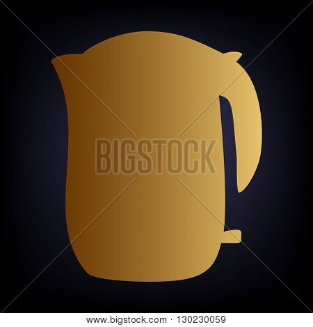 Electric kettle icon. Golden style icon on dark blue background.