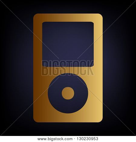 Portable music device. Golden style icon on dark blue background.
