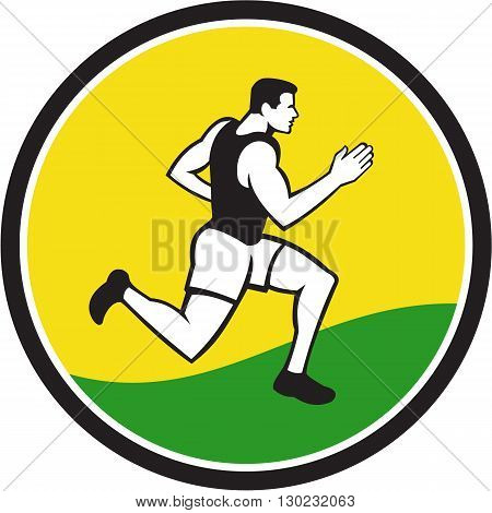 Illustrations of male marathon triathlete runner running viewed from the side set inside circle on isolated background done in retro style.
