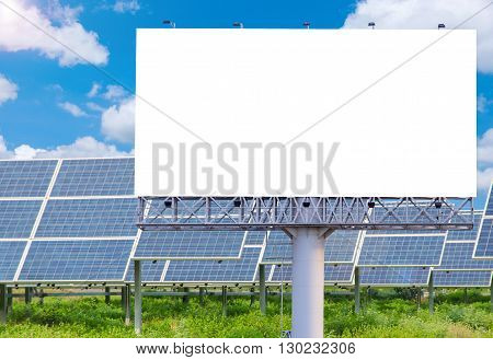 Blank Billboard For Advertisement With Solar Power Plant