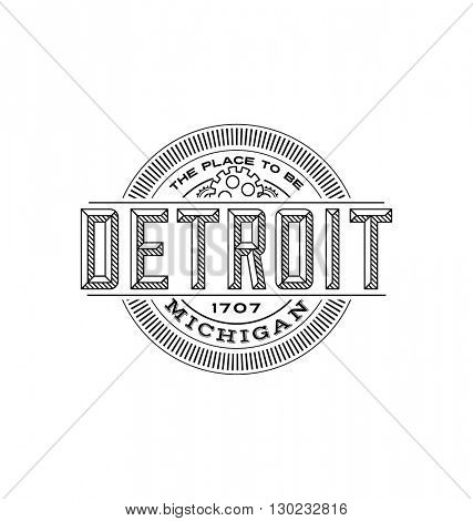 detroit, michigan linear emblem design for t shirts and stickers