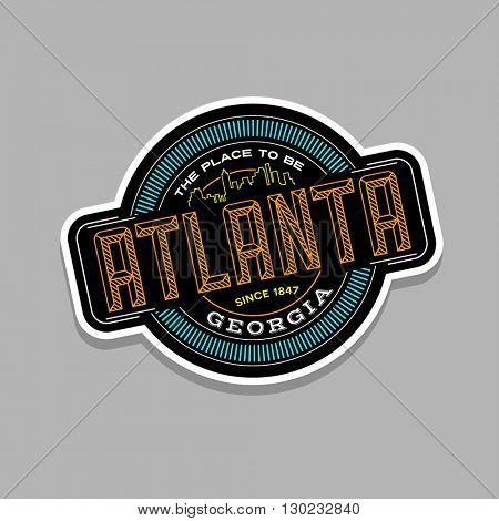 atlanta, georgia linear emblem design for t shirts and stickers