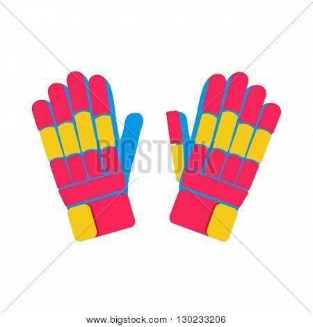 Gloves cricket illustration. Gloves for cricket on white background. Gloves vector. Pitch illustration. Batting Gloves isolated vector.