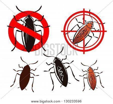 cockroach, pest control icons set. vector illustration