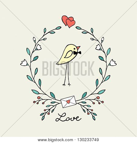 Cute canary-finch with a flower wreath. Vector illustration.