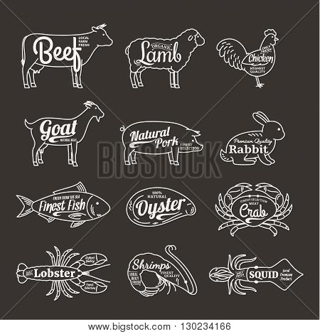 Butchery And Seafood Shop Logo. Vector Farm Animals And Seafood Thin Line Icons Collection