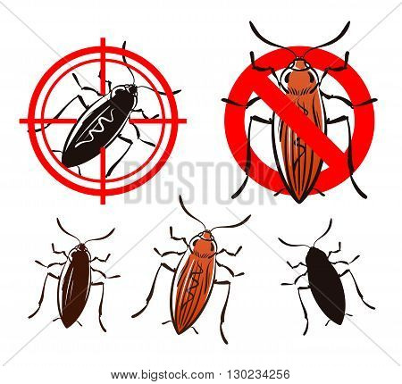 cockroach or beetle set icons. vector illustration