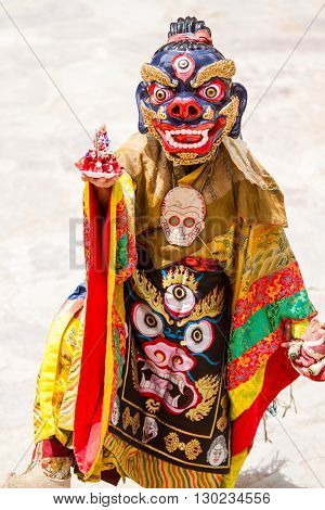 Hemis India - June 29,2012: unidentified monk performs a religious masked and costumed mystery dance of Tibetan Buddhism during the Cham Dance Festival on June 29 2012 in Hemis monastery India.