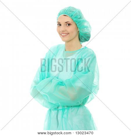 Portrait of female surgeon or nurse wearing protective uniform, isolated on white background