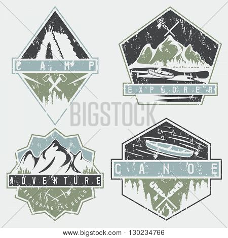 Canoe, Camping And Adventure Vintage Vector Grunge Labels Set