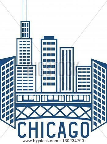 Chicago Illinois Usa Skyline Vector Design Template