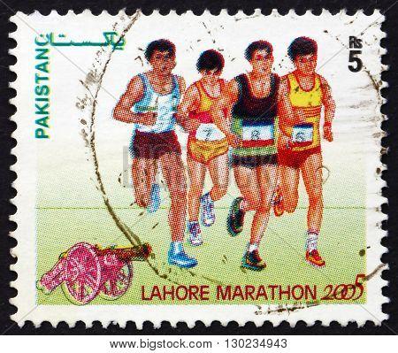 PAKISTAN - CIRCA 2005: a stamp printed in Pakistan dedicated to Lahore Marathon circa 2005
