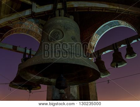Night view at the full moon of the bells at the Cathedral's belfry in Penza Russia