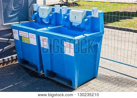 SAMARA RUSSIA - APRIL 24 2016: Equipment for washing hands at the central square in summer day
