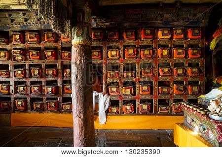 The Tibetan buddhist library of Thikse monastery. Himalayas Ladakh northern India.