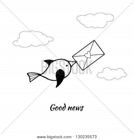 Cute bird carries the letter in its beak. Vector stylized image.