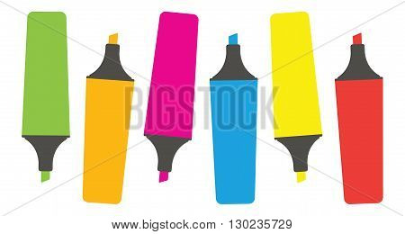 Colorful Markers. Set of markers on a light background. Six colored markers. Icons markers. Vector illustration.