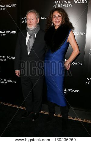 NEW YORK-JAN 5: Director Ridley Scott (L) and producer Giannina Facio attend the 2015 National Board of Review Gala at Cipriani 42nd Street on January 5, 2016 in New York City.