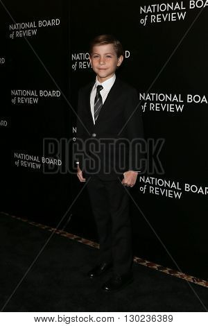 NEW YORK-JAN 5: Actor Jacob Tremblay attends the 2015 National Board of Review Gala at Cipriani 42nd Street on January 5, 2016 in New York City.
