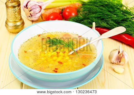 Soup with Chicken Broth with Noodles and Vegetables