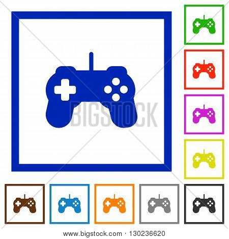 Set of color square framed Game controller flat icons on white background
