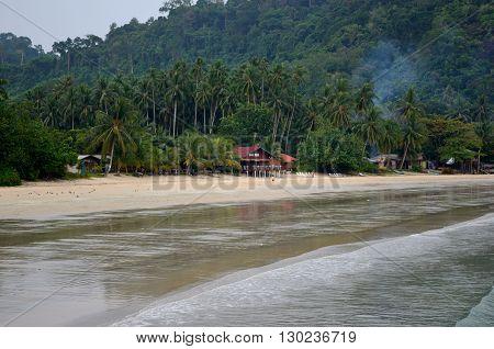 Tioman Island/Malaysia - September 2012: Juara beach resort on the Juara beach, Tioman Island, Malaysia.