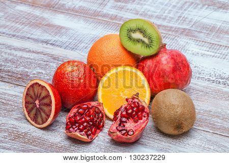 collection of fruit isolated on a wooden background