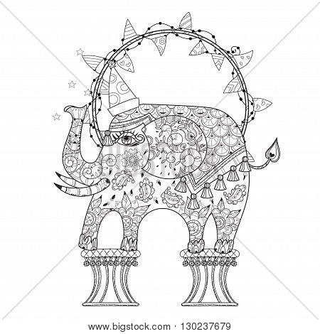 Hand drawn doodle outline circus elephant doodle decorated with ornaments.Vector Floral ornament.Sketch for tattoo or coloring pages.Boho style zen art.