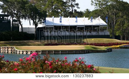 PONTE VEDRA BEACH, FL-MAY 16: General view of the 17th green at TPC Sawgrass after The PLAYERS Championship on May 16, 2016.