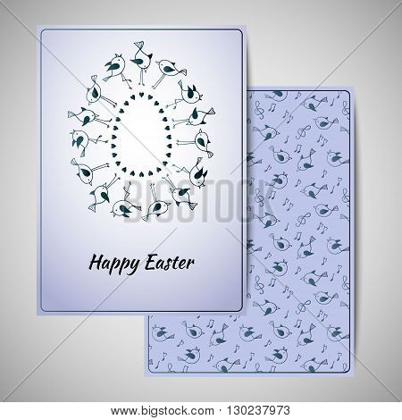Easter greeting card design with cute birds. Vector illustration.