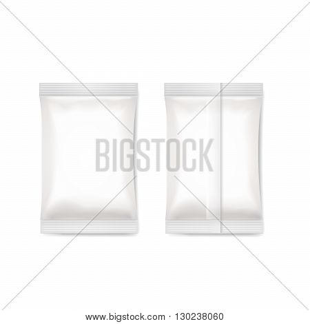 White blank foil packaging sachet sugar, coffee, salt. packing