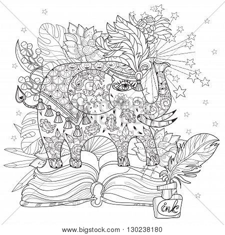 Hand drawn doodle outline circus elephant doodle decorated with ornaments. from fairy bookVector Floral ornament.Sketch for tattoo or coloring pages.Boho style zen art.
